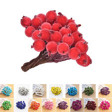 40pcs Mini Christmas Frosted Fruit Artificial Berry Table Centerpiece SK;'