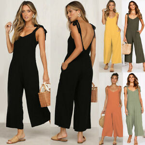 UK Womens Backless Trousers Overalls Pockets Ladies Knot Crop Dungarees Jumpsuit