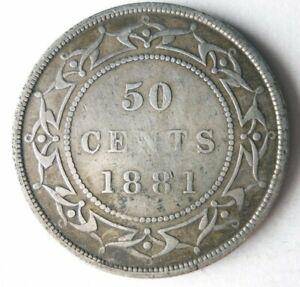 1881 NEWFOUNDLAND (CANADA) 50 CENTS - VERY RARE SILVER Coin - Lot #A8