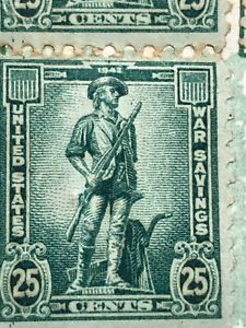 """1942 - 25c STAMPS US SCOTT #WS8 """"Minute Man"""" War Savings Stamps  And Booklet"""