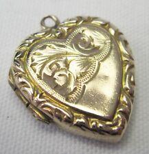 Antique Victorian 9ct Gold Heart Double Engraved Photo Pendant Locket Charm