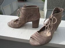 Vince Camuto Perforated Suede Leather Dress Sandal US 9 M EU 39 Back Zip Peep