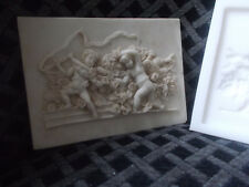 SILICONE RUBBER MOULD ORNATE CHERUB PLAQUE PLASTER RESIN CEMENT