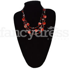 Red Tiered Beaded Necklace Jewellery Secret Santa Present Gift NEW 42511