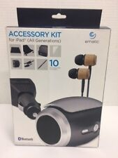 Ematic iPad 10 Accessories Kit Bluetooth Speaker Earbud Wall/Car Charger Aux New