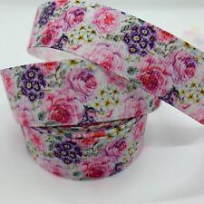 "Grosgrain Floral Flower Roses Colourful Ribbon 7/8"" 22mm"