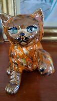 Vintage Mid Century Modern MCM Orange Brown Drip Glaze Ceramic Cat Figurine