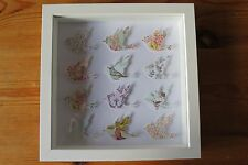Handmade wall hanging picture shabby chic vintage BIRDS in 3d box frame fab gift
