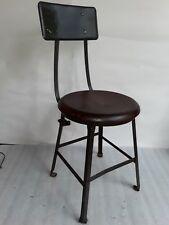 All original steel & wood vintage industrial chair w/ removable backrest Antique
