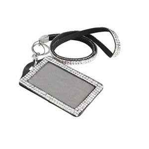 Rhinestone Crystal Sparkly Lanyard ID Photo Badge Holder Choice of Bling Colours