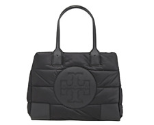 Tory Burch NEW Ella Mini Puffer Black Quilted Nylon Logo Tote Bag $278 Authentic