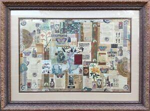MELANIE BOONE (USA) LARGE ORIGINAL SIGNED MIXED-MEDEA ANTIQUITY COLLAGE ARTWORK.