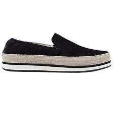 Prada slip-on scarpe donna taglia size 38 black nero camoscio suede