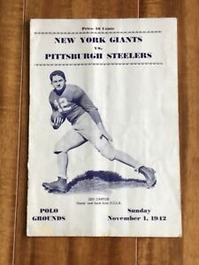 1942 New York Giants vs Pittsburgh Steelers NFL Football Program 11/1/1942