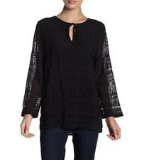 NWT VELVET BY SPENCER & GRAHAM Sz L CICI EMBROIDERED CHALLIS PEASANT TOP BLACK