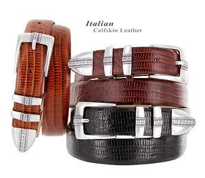 "Brandon Men's Italian Calfskin Leather Designer Dress Golf Belt 1-1/8""(30mm)wide"