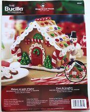 """Bucilla Plaid """"Gingerbread House"""" 3D Sequin Bead Felt Kit 85261 Xmas Home Decor"""