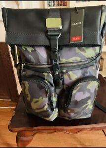 Tumi Men's Alpha Bravo London Roll-Top Camo Gray Green Backpack!