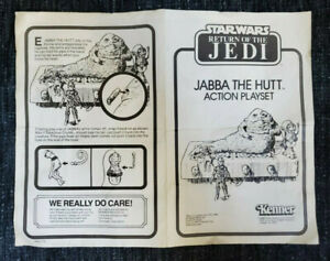 Jabba The Hutt Action Playset instruction manual ROTJ Star Wars Kenner 1983