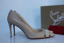 sz 8.5 / 39 Christian Louboutin Biblio Coyout Nude Leather Pointed toe Pump Shoe