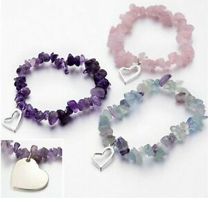 Crystal Gemstone Bracelet 7 Chakra Chip Bead Natural Stones Heart Charm Silver