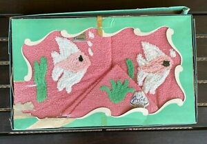 Vintage Cannon Towel Set Fish Pink Green Original Box Never Used 50s Joy-Ceil