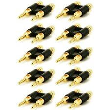 10 Pcs Dual Banana Plug Space Audio Speaker Wire Cable Connector Open Screw Gold