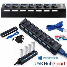 Hub 7 Puertos USB 3.0 Multipuerto para Portatil Laptop Tabet Pc Duplicador Negro