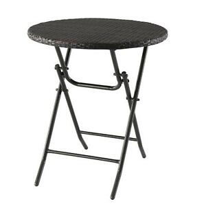 Dark Brown All-Weather Wicker Folding Bistro Table Patio Living Room