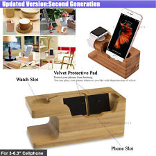 For Apple iWatch Phone Bamboo Charging Docking Station Cradle Table Stand Holder
