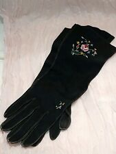 Vintage Embroidered Black Lambskin Leather Women's Gloves, Petite