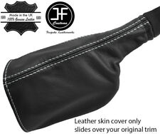 WHITE STITCH REAL LEATHER HANDBRAKE BOOT COVER FITS DEFENDER 90 110 STYLE 2