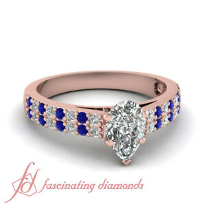 1 Carat Pear Shaped Diamond And Sapphire Gemstone Double Row Engagement Ring GIA