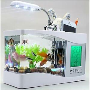 USB Desktop Fish Tank Aquarium LED light Lamp Digital Clock Pen Holder White
