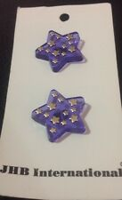 """2 Vintage 3/4"""" Realistic Novelty Plastic Blue And Gold Star Buttons"""
