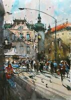 Landscape Painting Watercolor Original Prague Street Square Cityscape 15x11 in