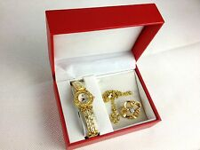 """Ladies Quartz Watch 18"""" Necklace Pendant and Matching Brooch"""