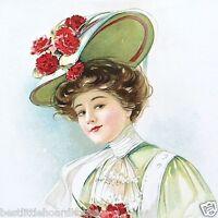 RED CARNATION Flower HAT Lady Old Vintage 1908 Antique VICTORIAN PRINT