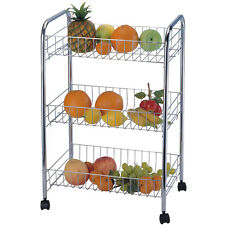 White 3 Tier Fruit Vegetable Rack Wheels Storage Stand Cart Trolley Kitchen (whi