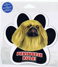 Pekingese Rules Waterproof Bumper Sticker Magnet NIP