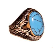 Sterling Silver Men sword Byzantine ring, stabilized-turquoise Stone Men Ring