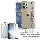 For iPhone 12 11 Pro Max XS XR 8 7 Custom Name Clear Case Cover Screen Protector