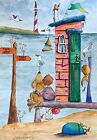 8x6 Contemporary Original Watercolour Painting Beach Hut~Boy~Dog~Mouse~Snail
