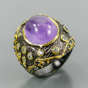 Jewelry Handmade Amethyst Ring Silver 925 Sterling  Size 9 /R164131