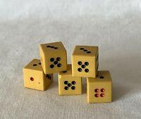 Vintage Set of 15mm Butterscotch Coloured Plastic NUMBERED / Poker Dice