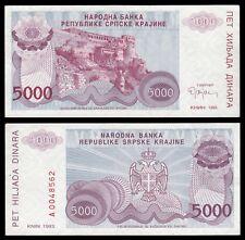 Croacia - Croatia-Serbian Krajina 5000 Dinara 1993  Pick R-20  SC = UNC