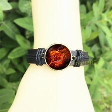 Fiery Red rose Flower Black Bangle 20 mm Glass Cabochon Leather Charm Bracelet