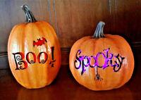 Lighted Jack-O-Lantern Halloween Pumpkins Boo Spooky Color-Changing LED Set of 2