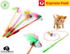 2 x Cat Fishing Rod Toy With Feathered Mouse Bungee Stretch Kitten Pet Fun Play