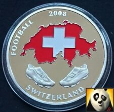 2008 40mm UEFA EURO Football Championship Coloured Switzerland Map Coin Medal